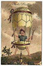 Easter Postcard Young Boy in a Great Hot Air Balloon Made from a Large Egg