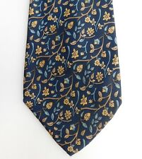 """Nina Ricci pure silk French tie Floral design navy blue gold vintage 62"""" LONG"""