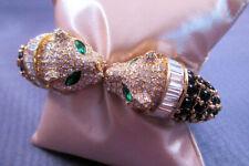 Halcyon Days Rhinestone Studded Leopard Hinged Bracelet OL337