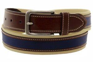 Tommy Hilfiger Men's Khaki/Brown/Navy Canvas/Leather Ribbon Belt