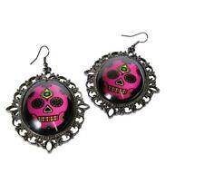 Halloween Tag der Toten Zubehör rosa Schädel Ohrringe Schmuck Kostüm