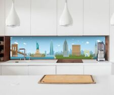 Sticker Kitchen Retro Wall New York Skyline Kitchen Foil Tile Splash Guard 22B074