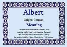 Albert Personalised Name Meaning Certificate