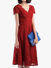 Jolie Moi V Neck Cap Sleeve Red Lace Dress - Size: 10