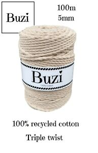 Macramé Cord String Triple Twisted 100% Recycled Soft Cotton COFFEE LATTE 100m