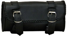 MOTORCYCLE TOOL BAG PVC LEATHER BRAIDED ROUND FORK BAR MOUNT