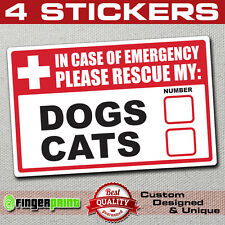 4 Emergency Pet Rescue DOG CAT Vinyl Decal Sticker First Responder FIRE Safety