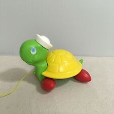Vintage Fisher Price Tag Along Turtle Pull Toy Beach Sailor
