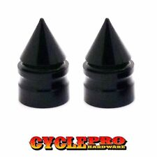 2 Black Fat Spike Billet Aluminum Tire Air Valve Stem Cap For Harley Motorcycle