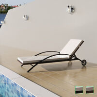 vidaXL Patio Rattan Wicker Pool Sunbed Lounger Garden Chaise Chair 2 Colors