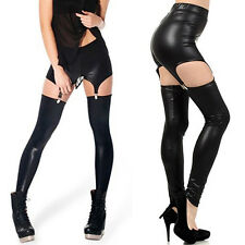 Fashion Women Faux Leather Suspender Leggings Buckle Waist Garter Pants Hot Sale