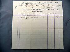 Letterhead Advertising B&M Rattenbury Pork Packers Invoice March 22 1898 PEI