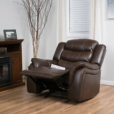 Traditional Brown PU Leather Glider Recliner Club Chair