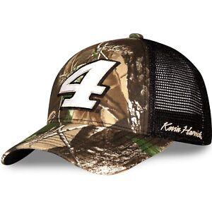 Kevin Harvick 2021 Checkered Flag #4 Real Tree Camo Black Mesh Nascar Hat / Cap