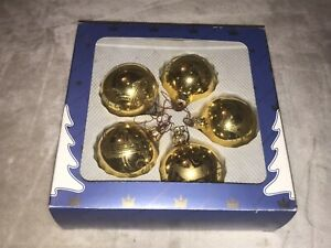 VINTAGE BOXED SET OF GOLD COLOUR GLASS MOUTHBLOWN HANDPAINTED XMAS TREE BAUBLES