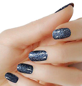 Charcoal Gray glitter color strips real nail polish wraps M26 street art