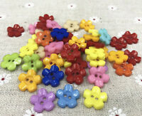 Resin buttons Mixed color Sewing Scrapbooking 2-Holes Flowers 15mm
