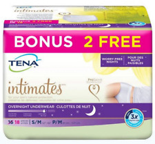 Tena Intimates Incontinence Underwear Overnight S/M 18 Count Bonus Pack NEW