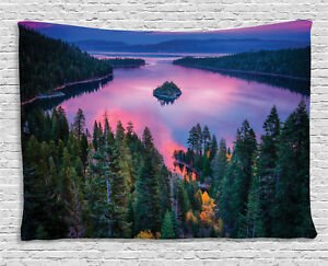 Nature Tapestry Forest and Lake View Print Wall Hanging Decor 60Wx40L Inches