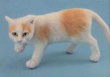 Needle Felted Animal white orange cat  Wool Art Sculpture ooak christmas gift