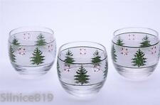 Vintage Culver Mid Century Christmas Tree & wreath Roly Poly Glasses Set of 3