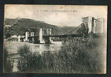 C1920s View of the Suspension Bridge Over River Rhone at Le Teil