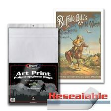 Case 1000 Bcw 11x17 Art Print Bags / Sleeves - Resealable 2 Mil Poly Bag