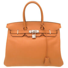 AUTHENTIC HERMES Birkin35 Sea surf and fan Hand Bag Toffee Taurillon Novillo