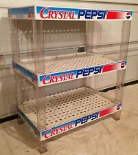 Vtg Crystal Pepsi Store Display Shelf Pop Can Soda Bottle Stand Rack Cola 90s