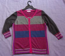 PER UNA 3/4 Sleeved Striped Cardigan in Greys, Pink and Blue - UK 14