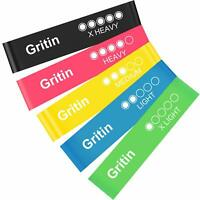Gritin Resistance Bands, [Set of 5] Skin-Friendly Resistance Fitness Exercise