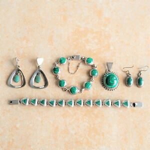 ~Malachite~ Mexico 950 Sterling Silver Mixed Jewelry Lot