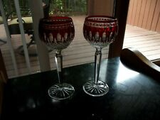 2 Wine Hock Glasses Waterford Crystal Clarendon Ruby Red Cut to Clear Noel Power