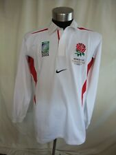 Mens Rugby Shirt NIKE size XL, white cotton & red trims, embroidered logo 7497