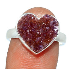 Heart - Amethyst Cluster - Uruguay 925 Silver Ring Jewelry s.8 BR79740