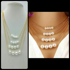 Trendy Jewelry Choker Gold Color Finish Multilayer Big Pearls Bib Necklace Girls