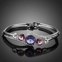 White Gold Plated Made With Purple Swarovski Crystal Rhinestone Bracelet Bangle