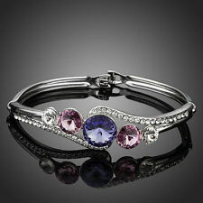 Shiny Rhodium Plated Purple Swarovski Crystal Element Rhinestone Bracelet Bangle