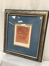 Edward Coley Burne Jones Gilt framed Red Chalk drawing 1889