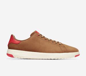 Men Cole Haan GrandPrø Tennis Sneakers Shoes  Nubuck Leather Tan/Scarlet C30916