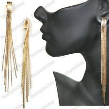 "CLIP ON 5""long big SLINKY liquid GOLD FASHION EARRINGS multi strands snake chain"