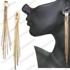 """Clip en 5"""" Largo Grande Slinky oro líquido Moda Pendientes Multi Hebras Serpiente Cadena"""