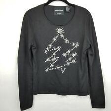 Michael Simon women SZ S black embellishment Christmas tree silk blend Top shirt