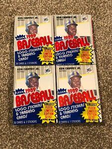(4) 1989 FLEER BASEBALL CARD CELLO PACK LOT HOF KEN GRIFFEY JR ROOKIE RC SHOWING