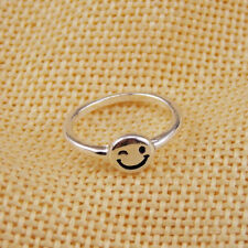 Super cute silver tone smiley winking face ring, UK Size H