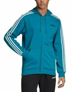 Adidas Men's Active Teal Essentials 3-Stripes Fleece Full Zip Hoodie