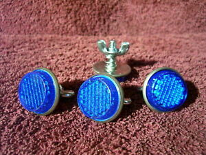 BLUE REFLECTORS AUTO LICENSE PLATE FORD CHEVY BUICK OLDS DODGE AMC GM ACCESSORY