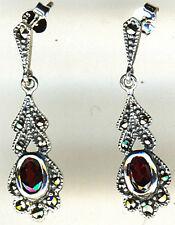 """925 Sterling Silver Garnet & Marcasite Drop / Dangle Earrings length 1.3/8"""""""