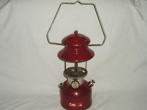 Vtg Coleman Gas Lantern 200A Burgundy 1/61 Clean but NO Globe Holds Pressure