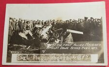 RPPC One Of 1st Airplanes Brought Down Hun Lines WW1 Engl Flugz Adogesch 1917-19